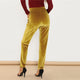 Ginger Pocket Front Velvet Elastic Waist Women Pants