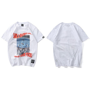 Hip Hop Twisted Letter Print Street wear T-shirt