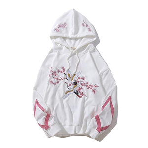 Casual Embroidery Flower Animal Hoodie