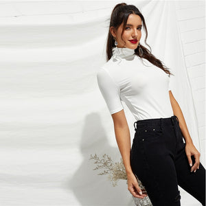Casual White High Neck Slim Fit Women T-shirt