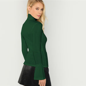 Army Green Rib Knit Fitted Flounce Sleeve Women Top