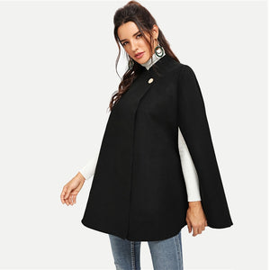 Black Single Button Oversized Cape Winter Coat