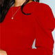 Burgundy Puff Sleeve Office Women Top