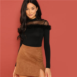 Black Mesh Yoke Faux Fur Fitted Women Top