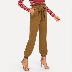 Brown High Waist Belted Pocket Casual Women Pants