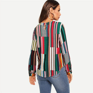 Multi color Striped Round Neck Long Sleeve Blouse