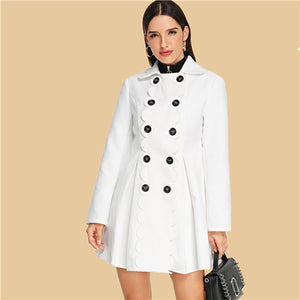White Scallop Detail Flared Pleated Autumn Coat