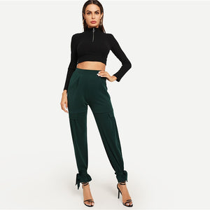 Green Ruffle Detail Knot High Waist Workwear Pants