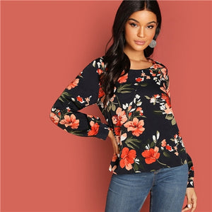 Multicolor Floral Print Long Sleeve Blouse