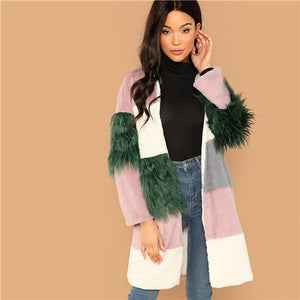 Multicolor Block Contrast Faux Fur Coat