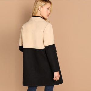 Double Color Block Notch Long Sleeve Coat