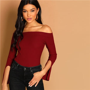 Burgundy Off the Shoulder Ribbed Knit Women Top