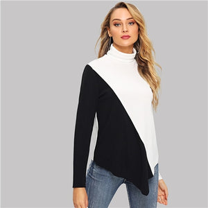 Black and White Asymmetrical Hem Women Sweatshirts