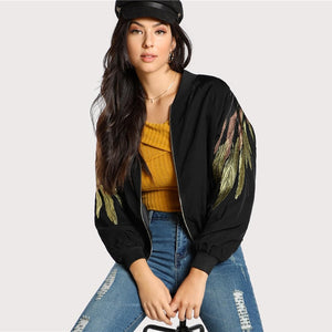 Black Feather Embroidered Bomber Autumn Coat