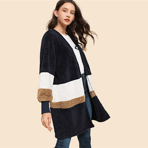 Multicolor Open Front Block Teddy Winter Coat