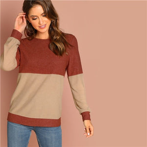 Two Tone Coloblock Round Neck Women Sweatshirts