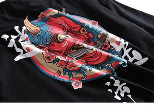 Hip Hop T-Shirt Men Ghost Chinese Charater Print T-Shirt