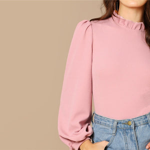 Pink Frilled Neck Bishop Sleeve Women Sweatshirts