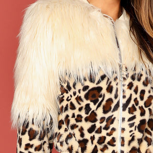 Leopard Print Faux Fur Winter Coat