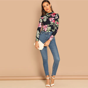 Multicolor Floral Print Mock-Neck Slim Fit Women Top