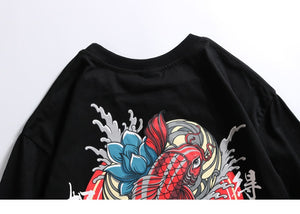 Chinese Red Paradise Fish Print Hip Hop Short Sleeve T-Shirt