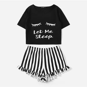 Black Graphic Tee and Frilled Striped Shorts Pajama Set