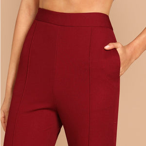 Burgundy Split Hem Mid Waist Workwear Women Pants