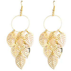 Green Leaf Drop Earrings For Women