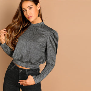 Grey Mock-Neck Wide Hem Long Sleeve Women Top
