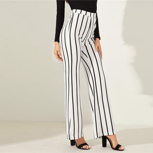 Black and White Striped Flare High Waist Workwear Pants