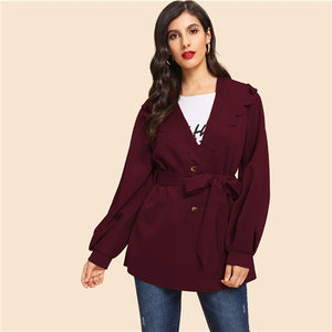 Burgundy Button Front Hooded Autumn Women's Coat