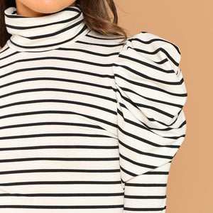 Black and White Striped Leg-of-Mutton Sleeve Women Top