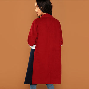 Multicolor Waterfall Collar Knee Length Autumn Coat