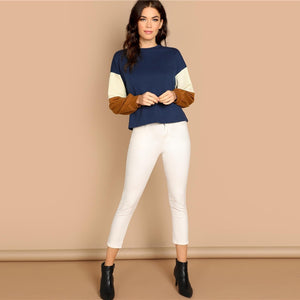 Multicolor Round Neck Stretchy Women Sweatshirts