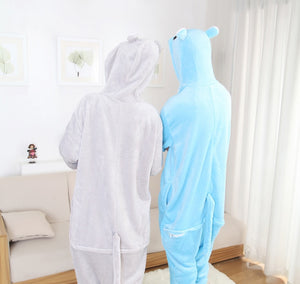 Grey Hippo Adult Onesie Pajama Costume
