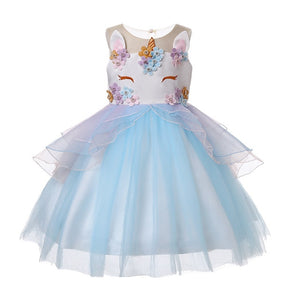 Unicorn Dress with Headband Party Dresses for Kids Girls