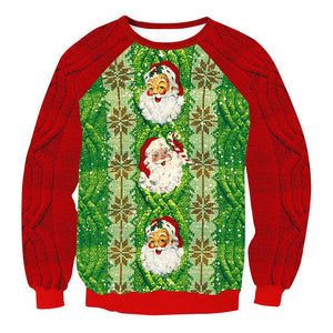 Ugly X-mas Sweater Red Collar Santa Claus