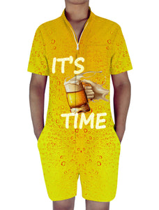Men's One Piece Romper Short Sleeve Beer Time