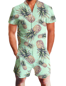 Men's One Piece Romper Short Sleeve Pineapple