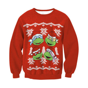 Ugly X-mas Sweater Red TMNT