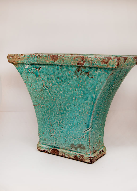 Rustic Teal Accent Vase