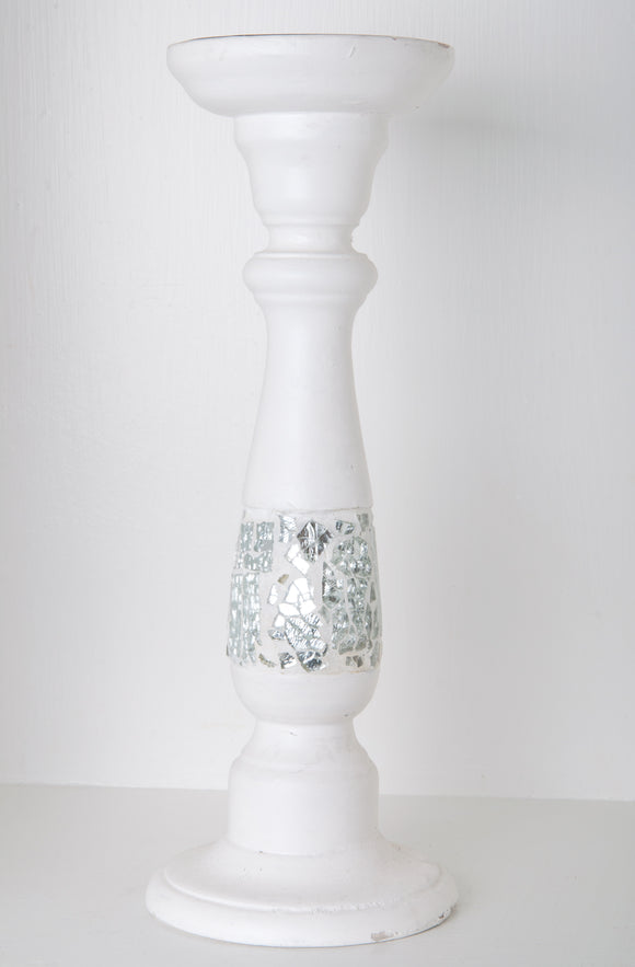 White Cracked Mirror Candle Stand