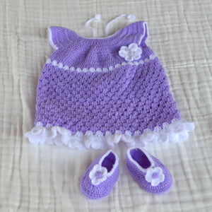 Crochet Baby Dress with Matching Shoes - Purple Newborn Size