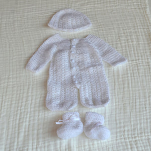 Crochet Baby Ful Body Suit With Hat and Socks 0 - 3 months