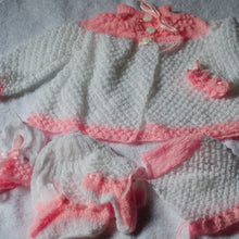 Load image into Gallery viewer, Crochet Baby Overcoat, Hat, Socks, Mittens Set