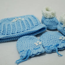 Load image into Gallery viewer, Crochet / Knitted Baby Hat, Socks, Mittens Set - BabySpace Shop