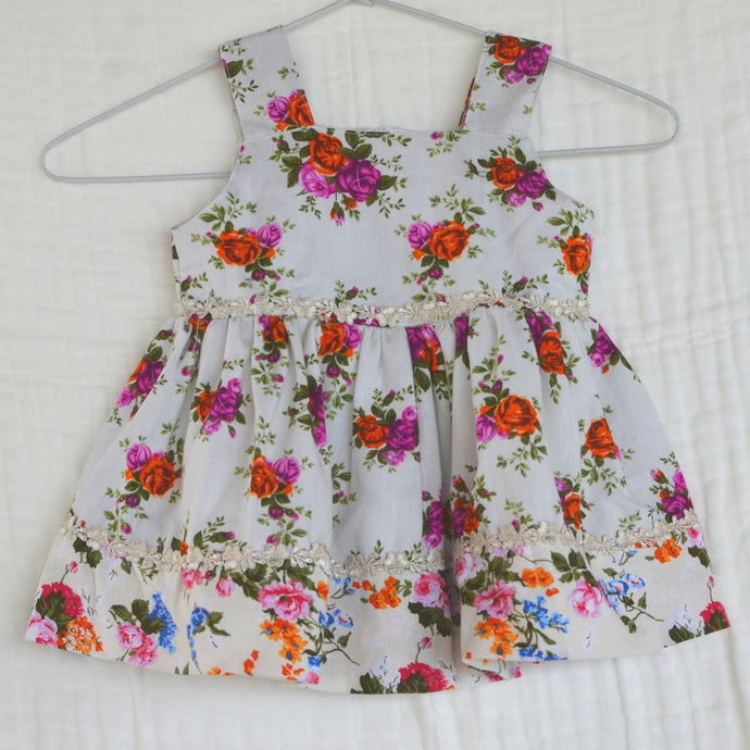 Handmade Linen Baby Dress Printed - 12 to 24 months