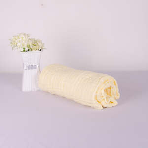 6 Layered Cotton Gauze Baby Towel/Blanket - White, Yellow