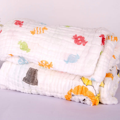 6 Layered Printed Cotton Gauze Baby Blanket/Towel