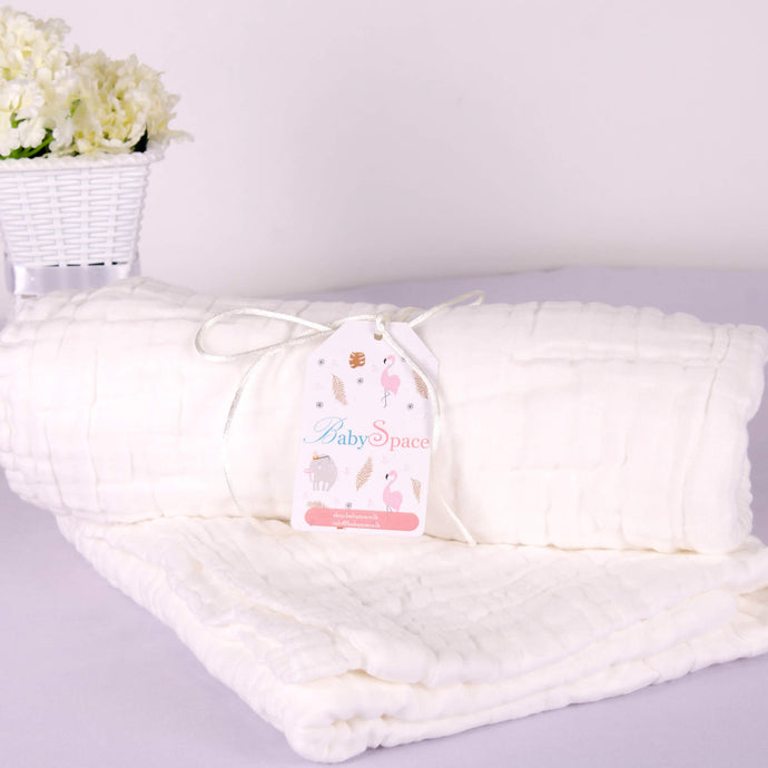 5 Layered White Cotton Gauze Baby Towel/Blanket - BabySpace Shop
